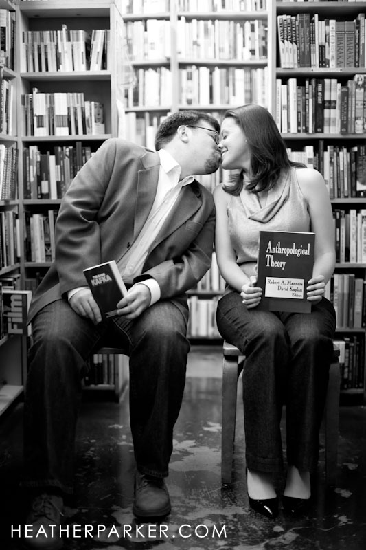 garfield park conservatory wedding couple has engagement session in a bookstore