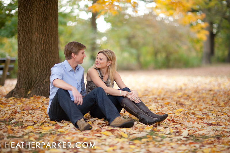 autumn foliage engagement shoot by heather parker