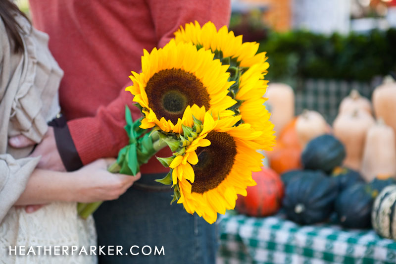 sunflower bouquet with green ribbon