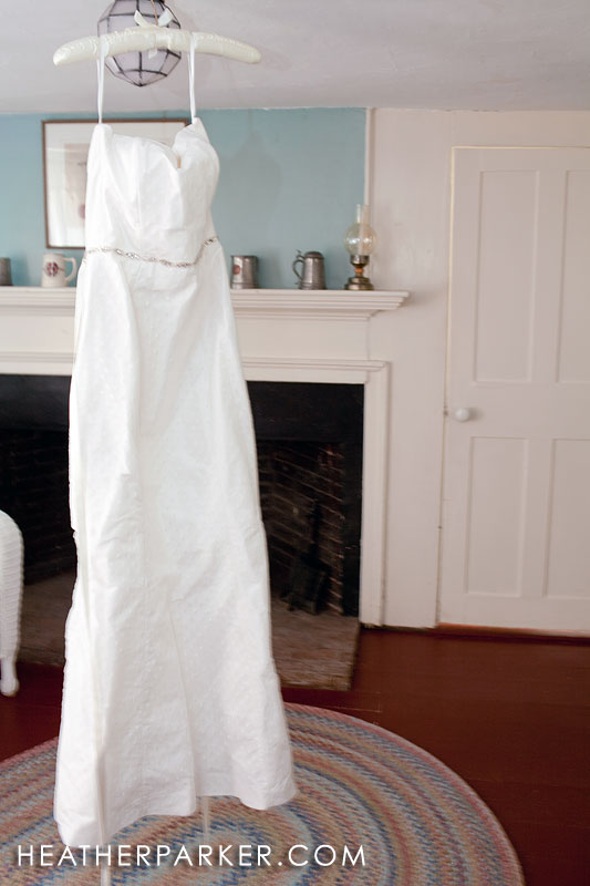 country barn wedding dress hanging with etsy accents