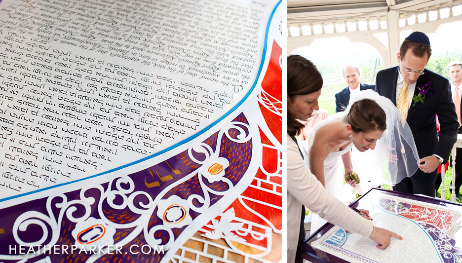 purple and red modern ketubah signing