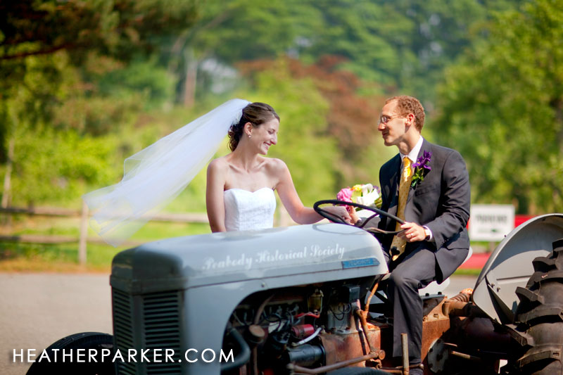 wedding at an apple farm with a vintage tractor