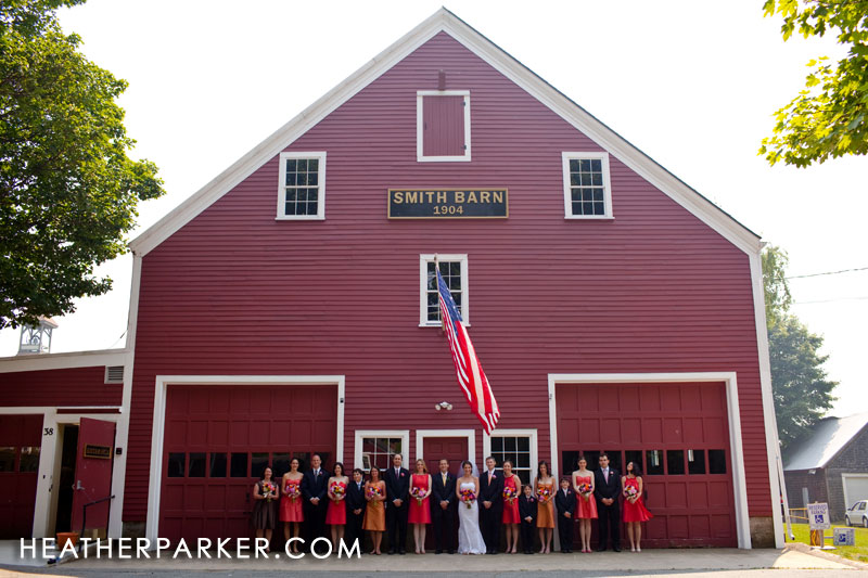 bridal party at a barn