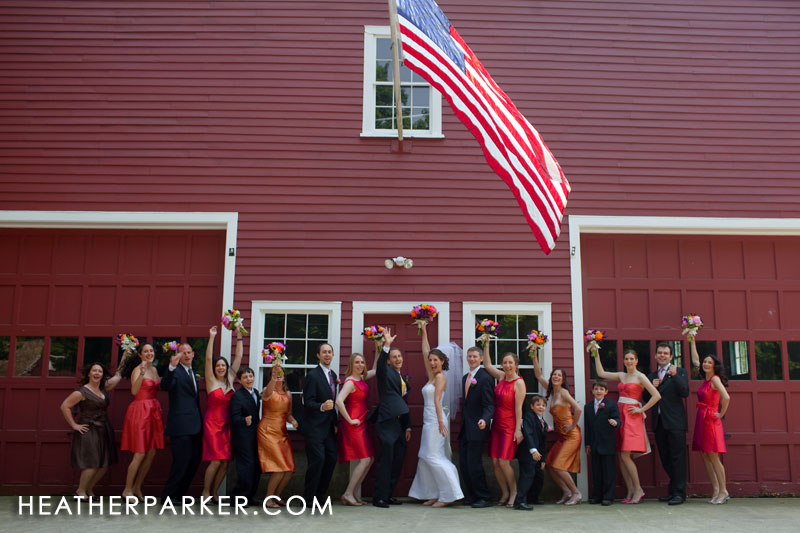 bridesmaid dresses and groomsmen tuxedos