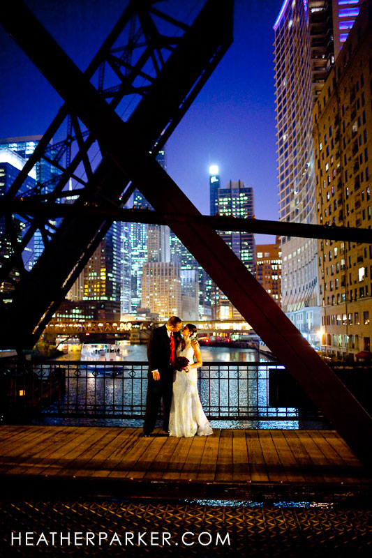 downtown wedding photography at night