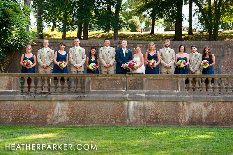 wedding party bridesmaids and groomsmen in navy and beige summer nautical