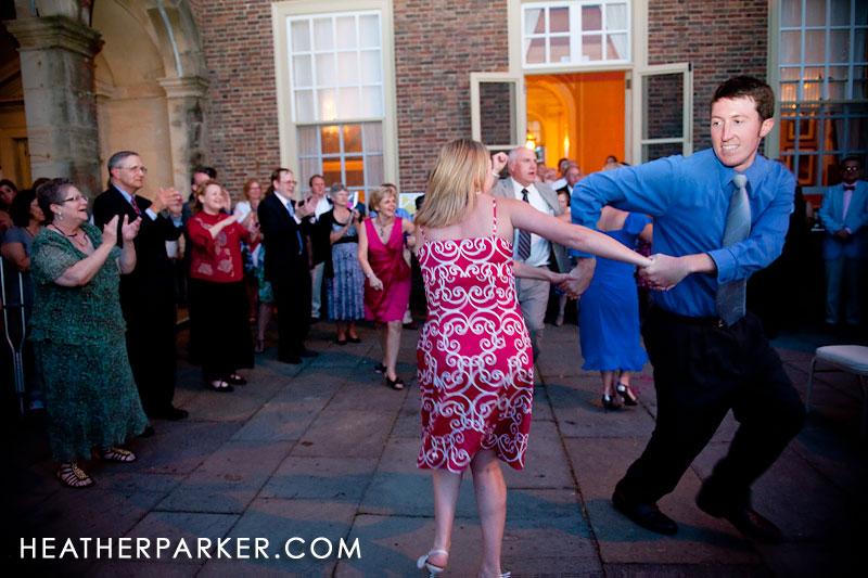 dancing outdoor patio summer wedding
