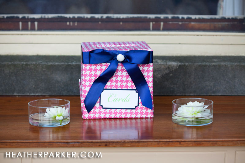 diy pink houndstooth and blue wedding card box