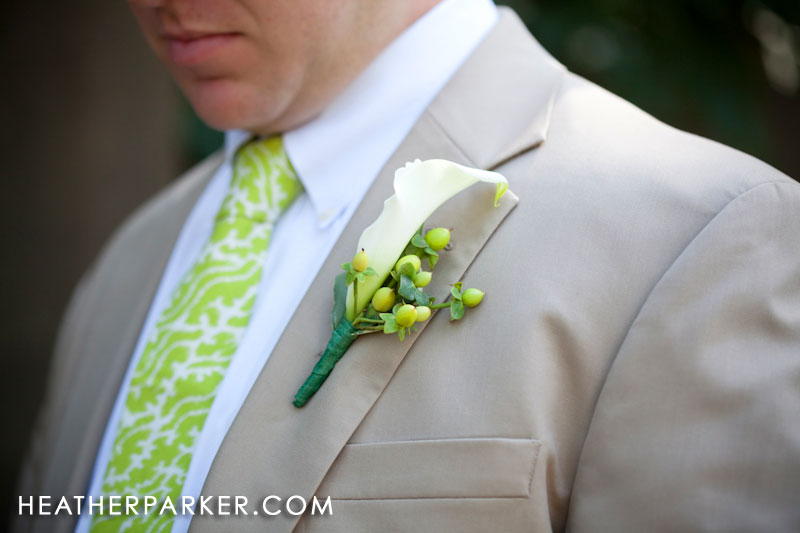 green wedding flowers for the groom and groomsmen