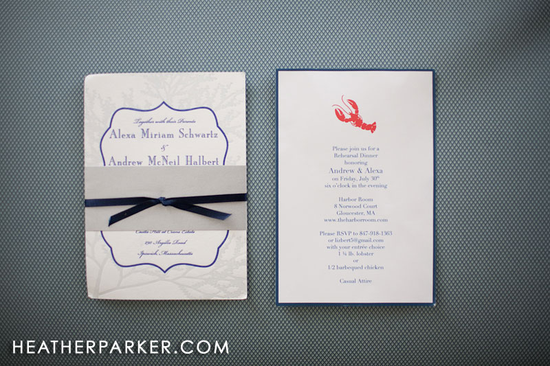 navy nautical wedding invitation for a summer wedding with a lobster