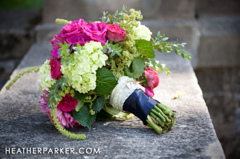 summer wedding bouquet in pink and navy for a nautical seaside theme