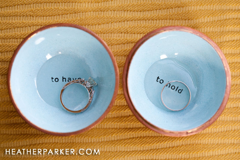 charlotte purchased adorable containers for the wedding rings which were