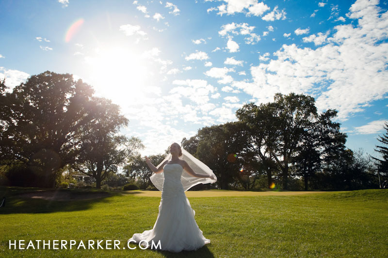 beautiful bride in the afternoon sun