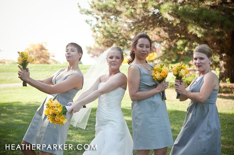 yellow bouquets green blue dress bridesmaids