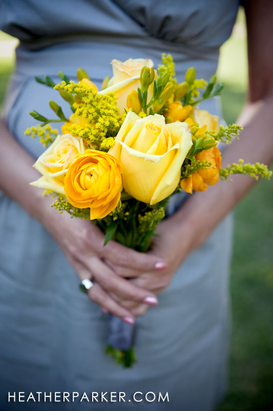bridal bouquet yellow bridesmaida