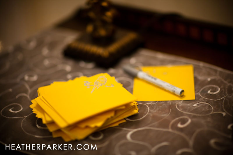 yellow guestbook cards