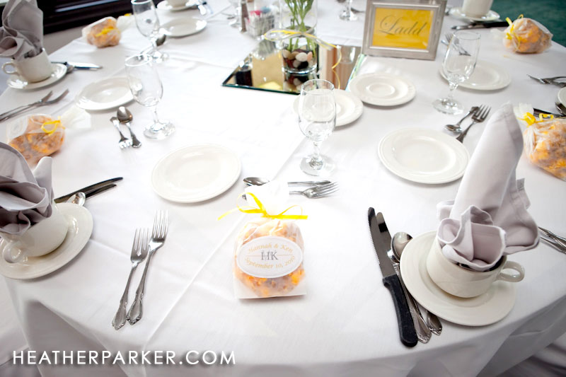 yellow table details at a wedding reception