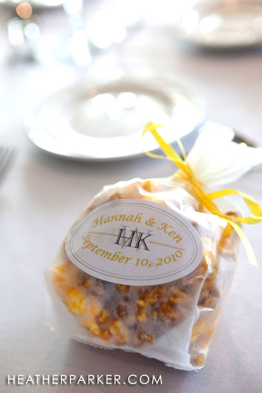 yellow wedding favors custom personalized