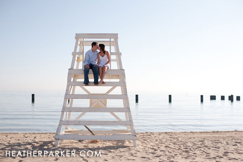 beach engaged couple from michigan