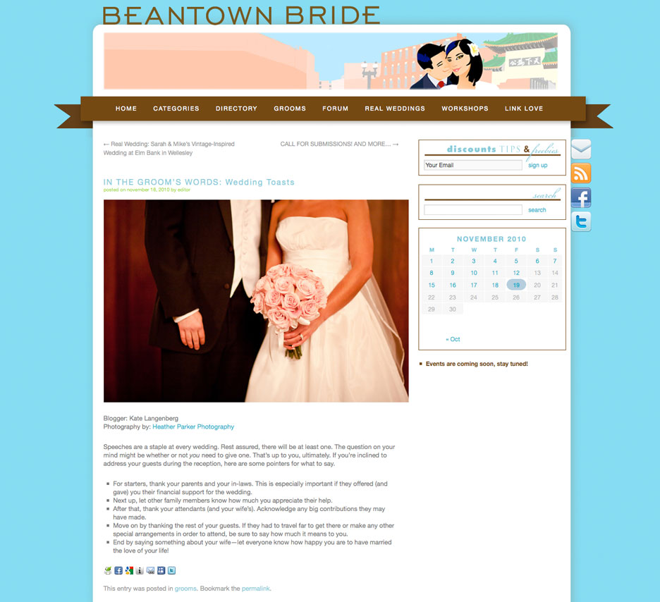 Boston's top wedding blog Beantown Bride