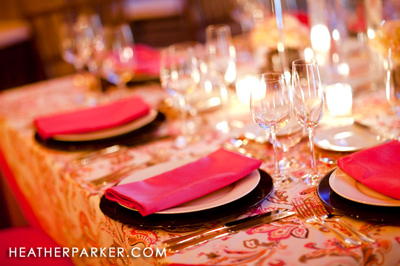 pink red floral and napkin design color at wedding