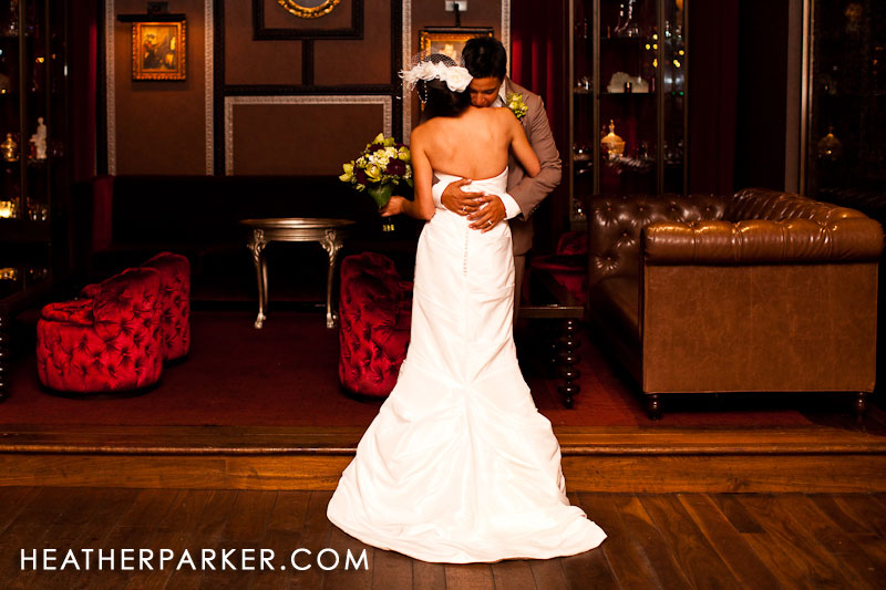 brides embrace for a first look on their wedding day