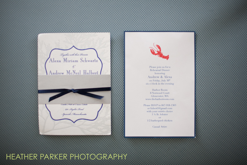 wedding invitation lobster seaside wedding
