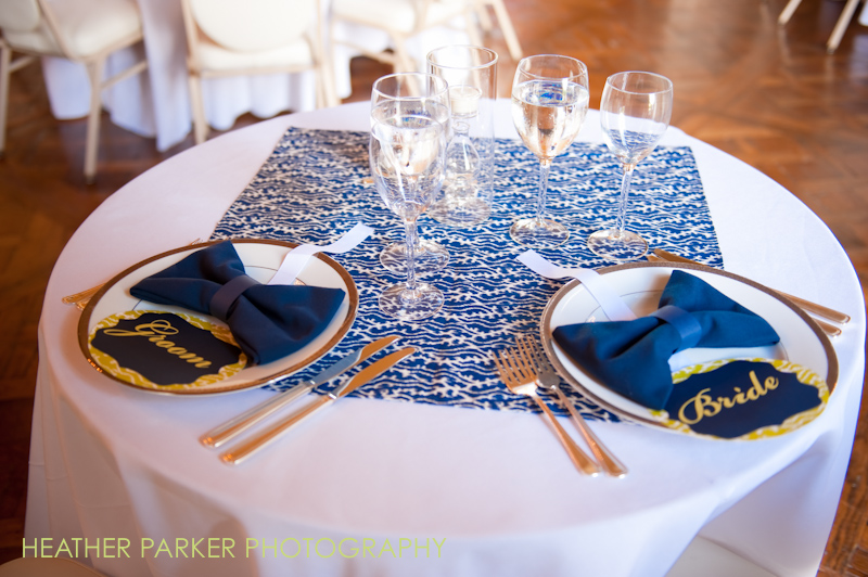 Navy Blue And Gold Wedding Stationery Table Settings For The Head Table