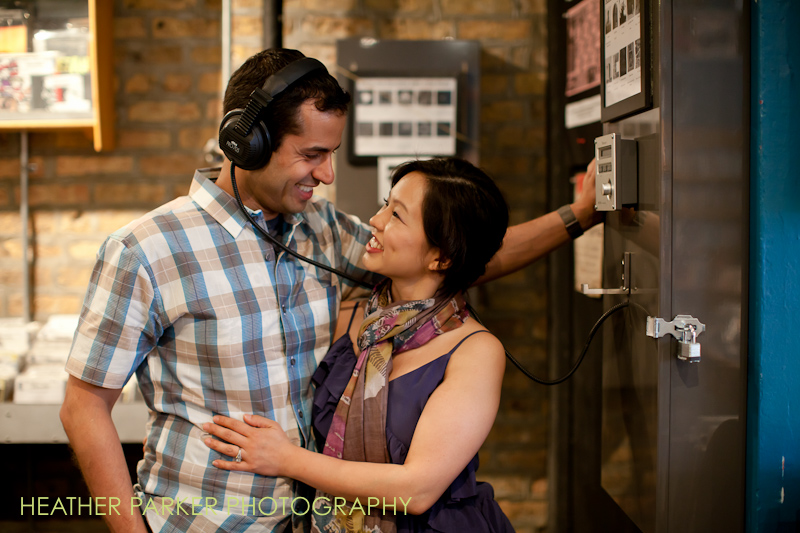 record store engagement shoot by Heather Parker