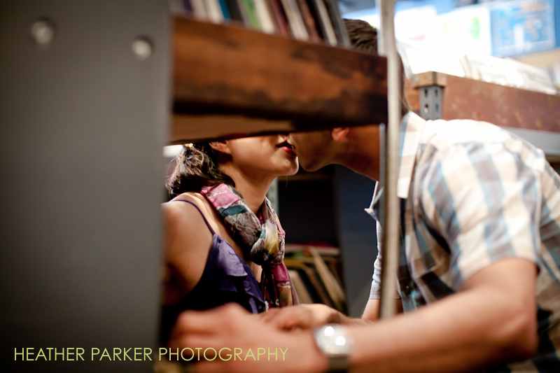 record store engagement shoot