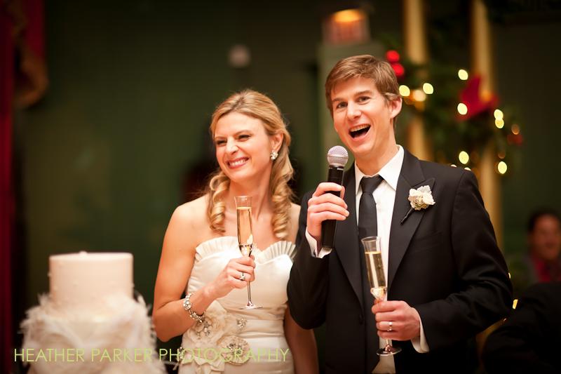 bride and groom at reception ballroom