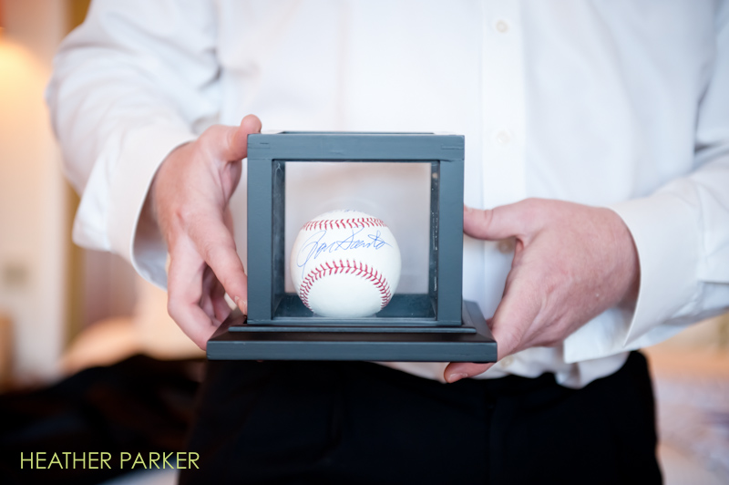 autographed baseball for the groom at a wedding
