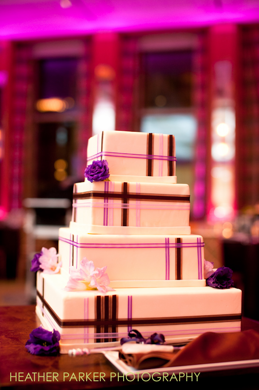 wedding cake designed by the caterers at Peninsula Hotel