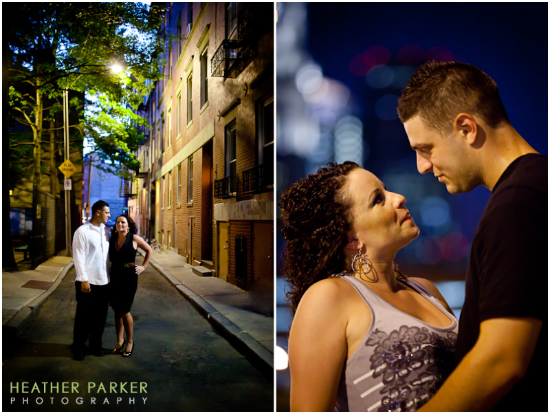 downtown boston wedding photographer engagement shoot at night