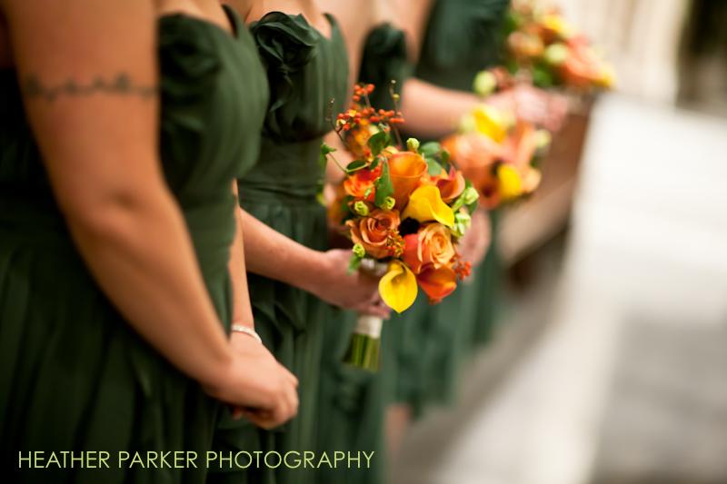 orange bridesmaid flowers green dress