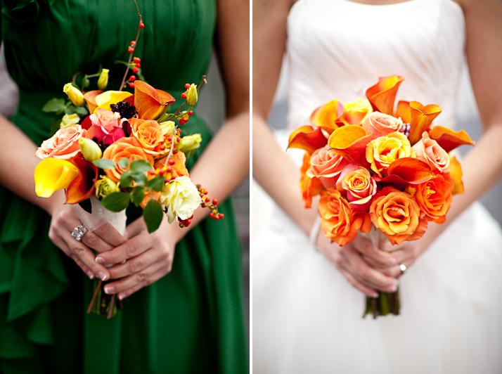 bride and bridesmaid bouquets orange green