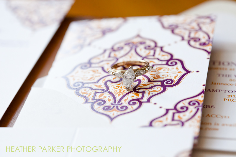purple and orange damask wedding invitations