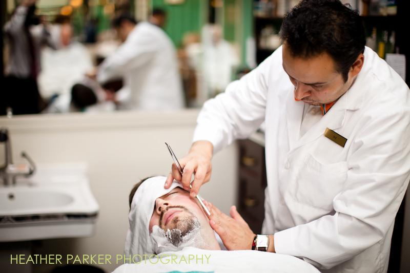 chicago groomsmen at the barbershop