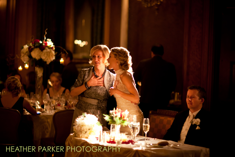bride and mother at wedding reception in the Renaissance Ballroom