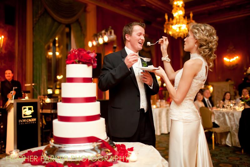 wedding cake at a reception at the Intercontinental