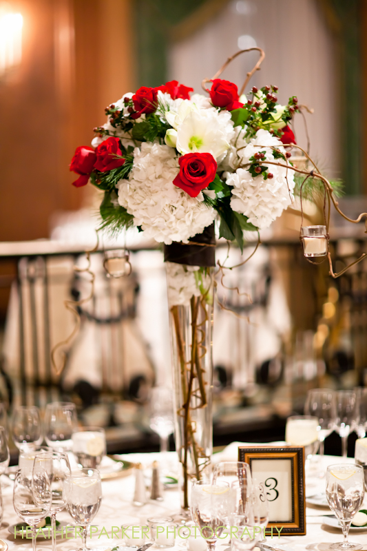 floral centerpieces in red and white for Christmas