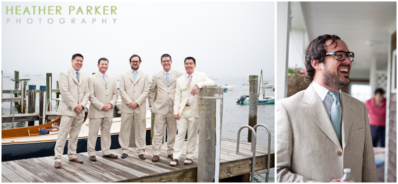 nantucket groomsmen in ivory or beige tuxedos with pinstripe details and boutineers