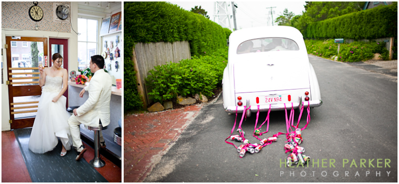 nantucket antique car for weddings taking a couple to the soda fountain at nantucket pharmacy