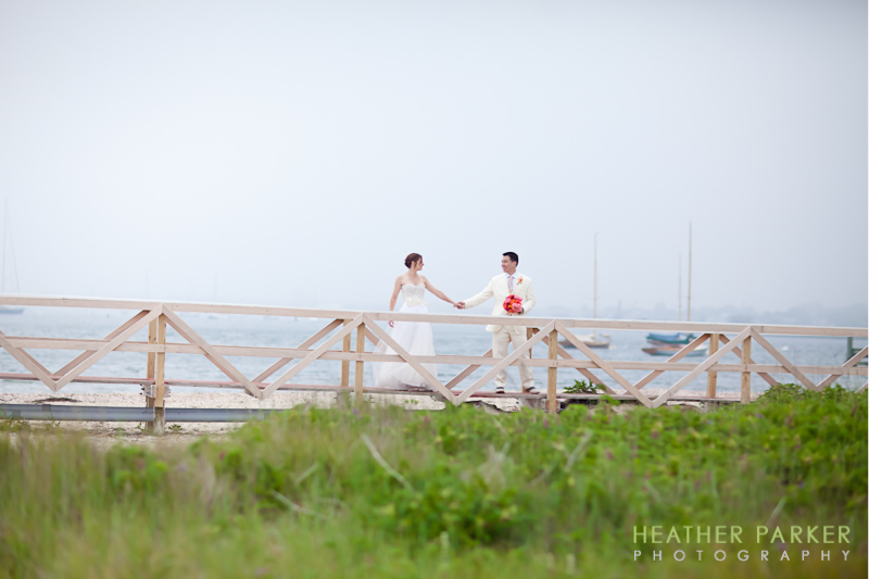 nantucket wedding brant point lighthouse rustic grassy photo