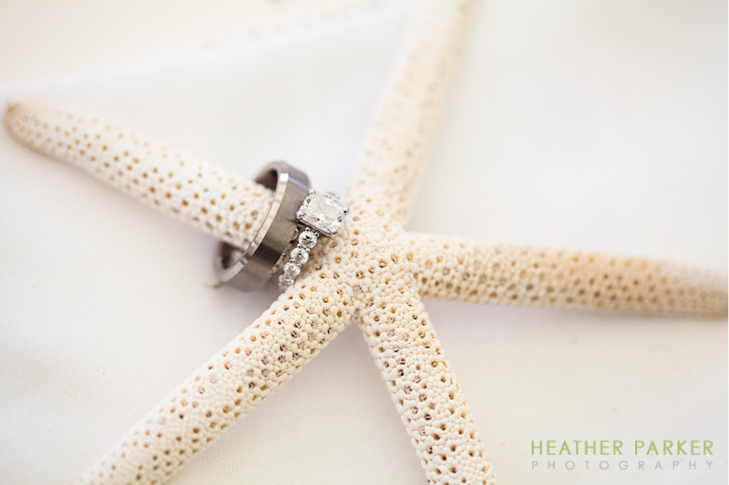 nantucket wedding details starfish place setting nautical theme rings