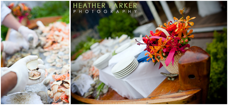 nantucket wedding raw bar caterer at the hotel with a boat theme lobster bake