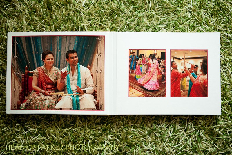 indian wedding photography in a luxury gold and red wedding album