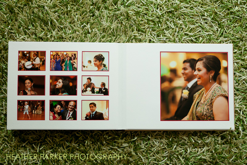 indian wedding reception photography by Heather Parker, shown in a Queensberry wedding album