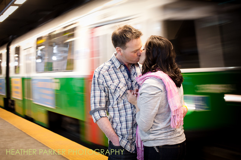 boston subway engagement shoot by wedding photographer Heather Parker