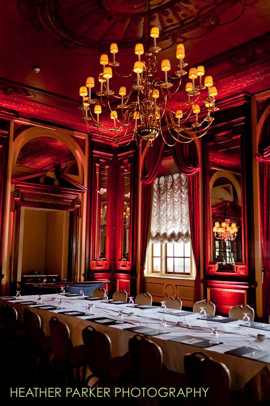 Boston uplighting in historic hotel wedding venue
